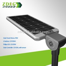 Cheap price 15W All In One LED Integrated Solar street light with 6m pole system LIfePO4 Lithium battery