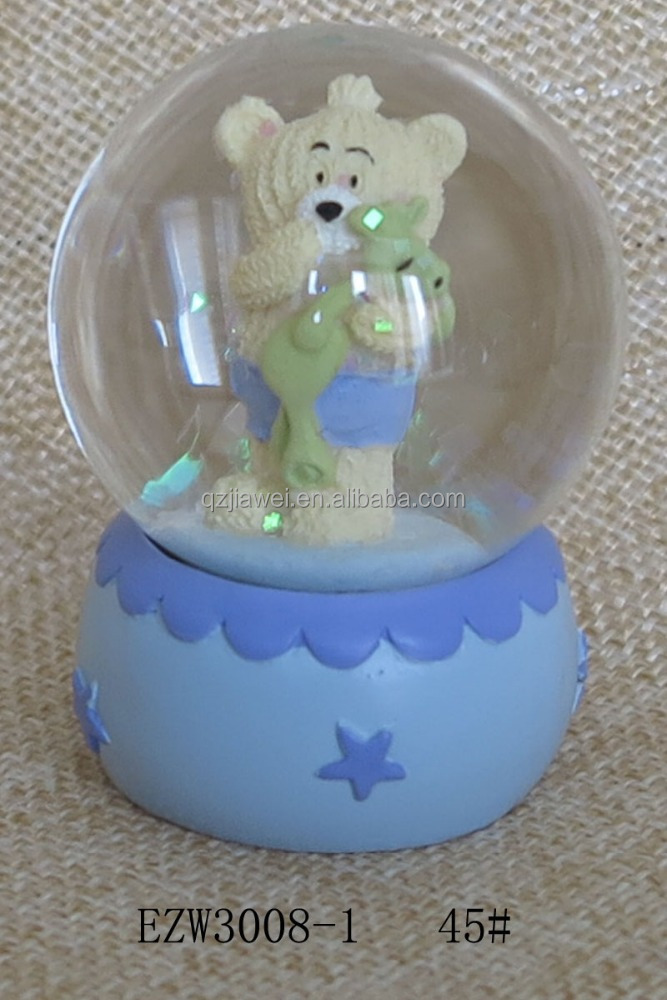 Hot sale eco-friendly Cute baby bear blue basement snow globes wholesale