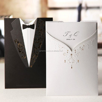 2016 WholeSale Two Sides Dress Favor White and Black Hindu Wedding Card Invitation