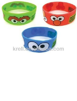 Sesame Street Cookie Monster Elmo Oscar PVC Rubber Bracelets Wristbands