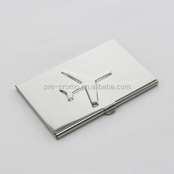 Metal airplane design business card holder
