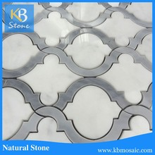 White Marble and Honey Grey Onyx Waterjet Tile Mosaic Wall Tile