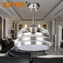 65W 110V silver color led ceiling fan with lighting