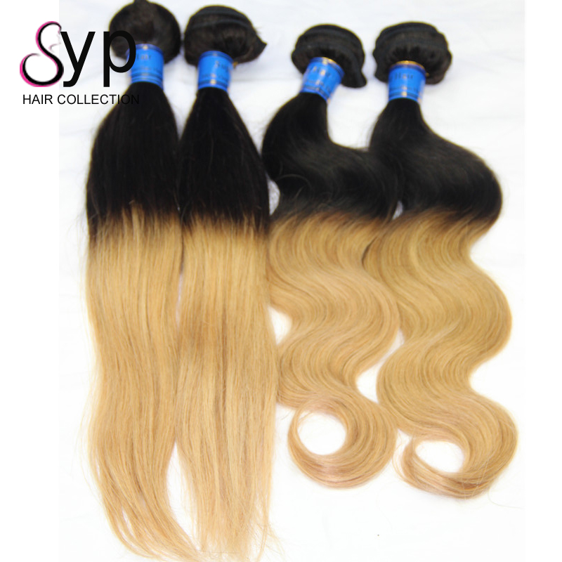 2 Tone 1B/30# Natural Black Dark Root Human Hair Weaves Brazilian Body Wave Wholesale Wavy Ombre Hair Extensions Bundles Deal