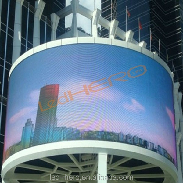 P12 Outdoor led advertise display panel/ flexible led curved video/P12 arc led screen billboards