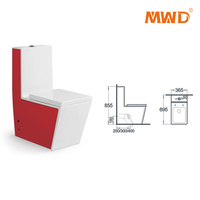 rectangular base siphonic flushing profile red color one piece toilet
