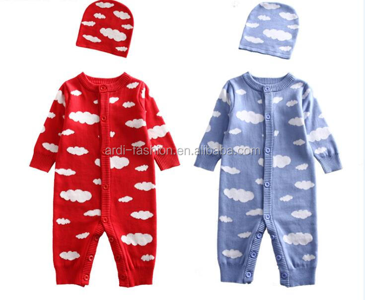 western infant toddler baby cotton knitted jumper romper with hat