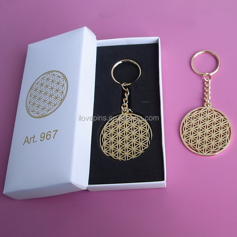Fashion Gold Plating Hollow Cut Out Flower of Life Keychain with Luxury Gift Box