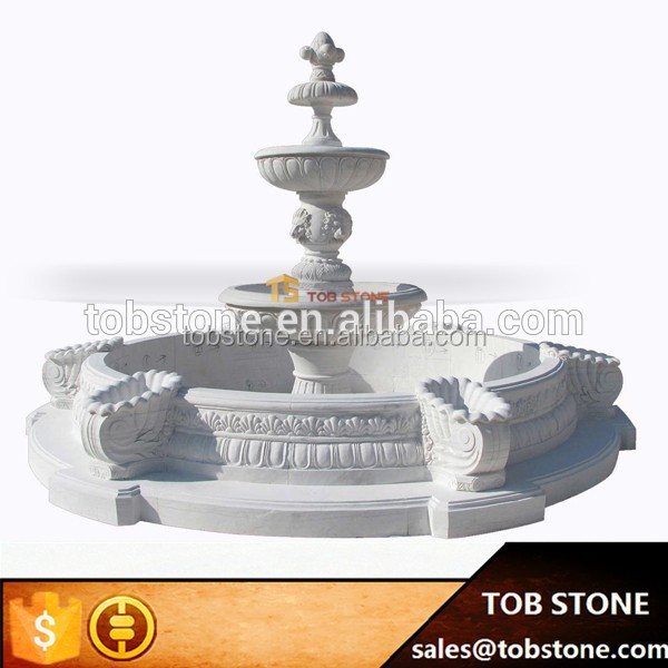2017 new classical white marble shell pool edge lion head water fountain