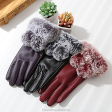 Latest fashion new design fur trimmed leather gloves for women G15