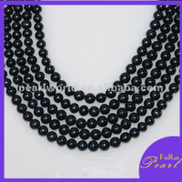 AA 8mm off round black fresh water pearl strand PD06