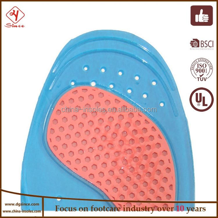 China supplier arch support flat feet orthotic gel insole for plantar fascitis