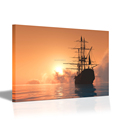 1 Panel Sailboat Painting Canvas Wall Art Giclee Paiting Sunset Landscape Sea View Wall Poster for Living Room Bedroom
