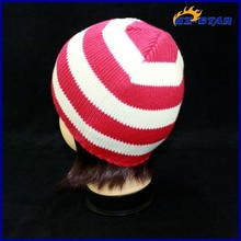 HZM-14082003 Customized Promotional fuchsia white stripe bucket washing acrylic sport women winter knitted hat with logo