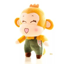 20CM One Piece Cute Monkey With Clothes Doll PP Cotton Stuffed Sitting Monkeys Plush Toy Monkey Friends Birthday Gifts