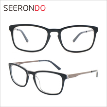 SEERONDO Best-Selling Latest Model Fashion Acetate Spectacle Metal Temple Glasses Frame Full Rim Eyeglasses