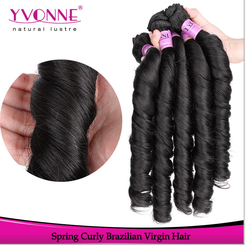 Wholesale brazilian spring curly human hair grade 4a hair weave
