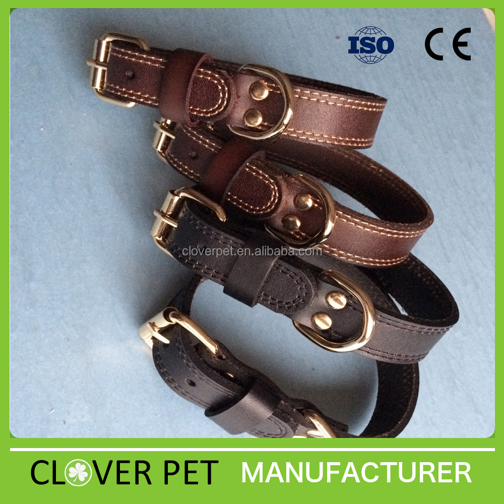 Adjustable Leather Dog Collar High quality Soft Padded Pet Dog Collar