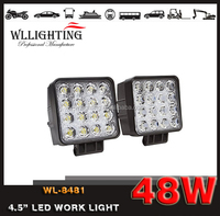 Wllighting 48W auto led working light LED Work Light, Automobile Square 48w led work light For car/motorcycles/jeep