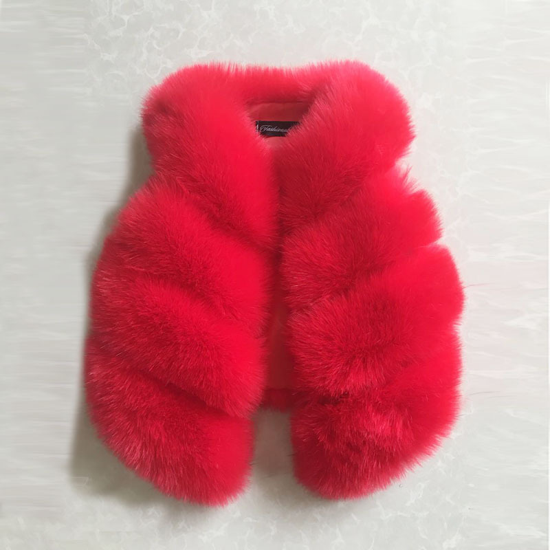 Fashion Faux Fox Fur Vest For Baby Girls