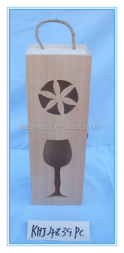 Country Rustic Finished Wood Cut Out Design Wine Case Carrier / Modern Wine Bottle Carrying Box