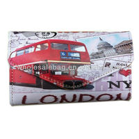 2014 New Designer Retro Style Stamp Printing Wallet London Bus Printed Purse Wholesale Price In Stock