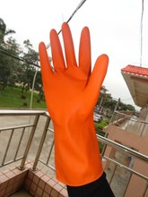 kitchen cleaning flocklined yellow latex household gloves/wash gloves/oil resistant long latex gloves for household