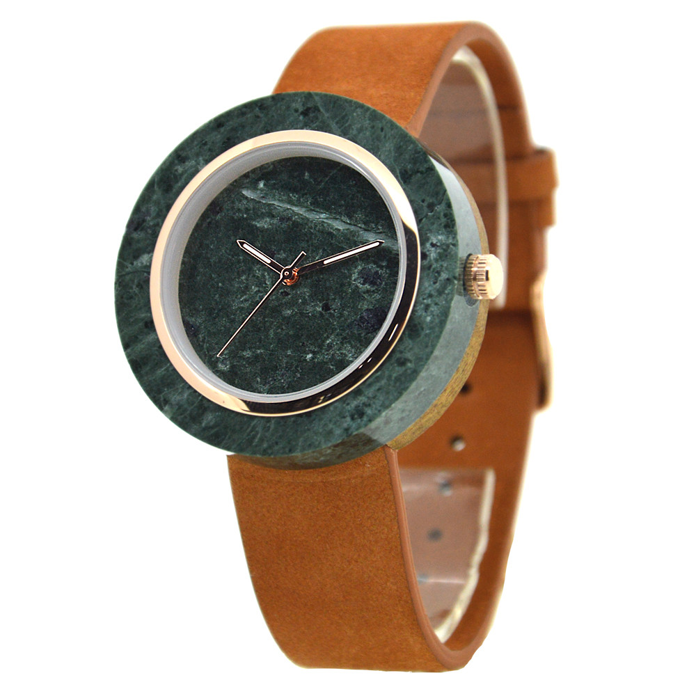 Custom Marble Stone dial Marble Watch Manufacturer Whosale leather OEM ODM