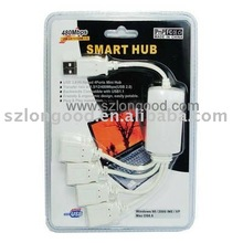 High-Speed USB 2.0 4-Port Hub Splitter Cable Adapter PC