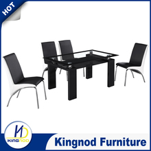 Rectangular Glass Dining Table Set Shelf Black Wood Chorme Base Dining Room Set Furniture