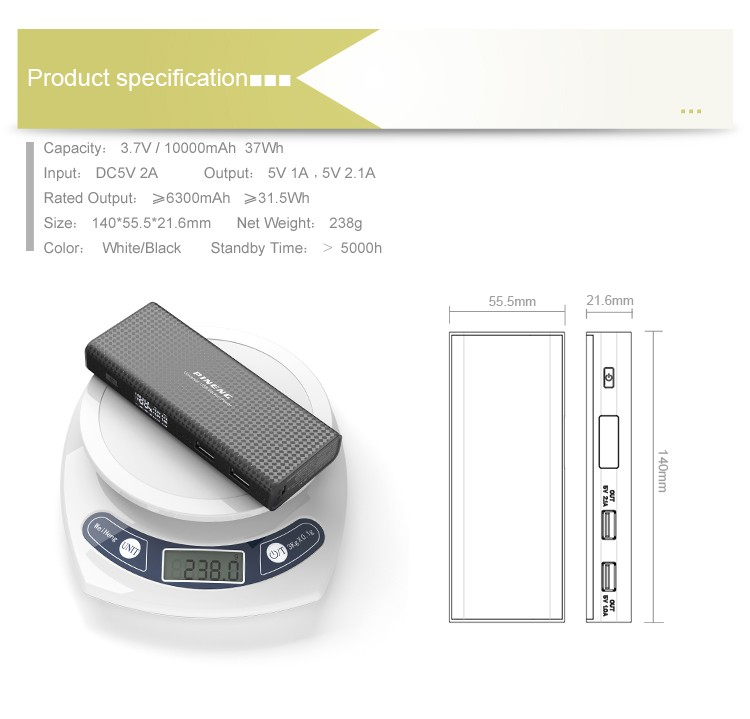 Pineng high quality 10000mah 18650 battery power bank for smartphone