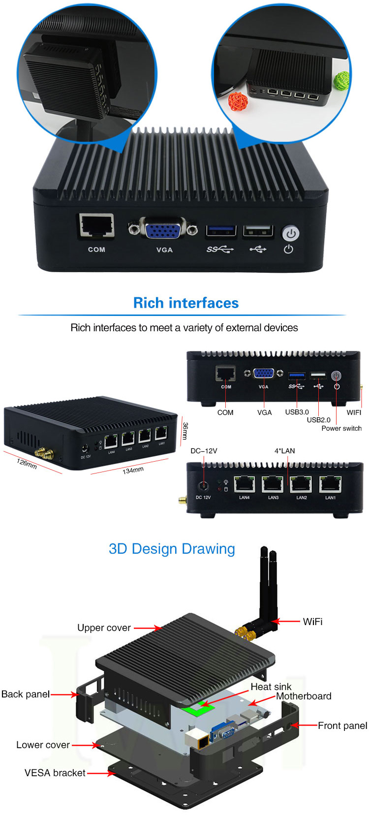 Small nano station mini pc Intel atom E3845 processor quad core sata fanless pure router VPN embedded 3g SIM slot linux computer