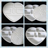 Disposable Plastic plate with cover fastfood plate 5 Compartments Plastic plate