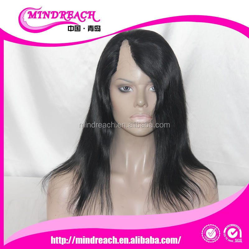 Indian hair 14inches <strong>U</strong> shape full lace wig #1 jet black color natural straight style right side <strong>U</strong> part wig