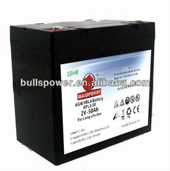 battery rechargeable	2V50AH (VRLA) long life battery for ups,telecom