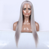 Qingdao hair factory Wholesale custom made 16 inches grey brazilian full lace wig for white women