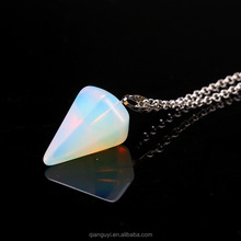 QIANGUYI Gemstone Crystal Quartz Point Pendulum Pendants Fashion White Jade Crystal Point Pendant with Silver Bail