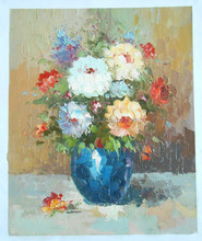 Hot sell white flower canvas oil painting wholesale