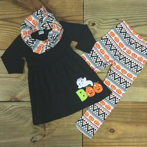 Lovely cotton outfits printed ghost dress and pumpkin leggings girls baby halloween colthing set