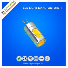 2015 SYW energy saving !! voltage :DC12V 5 pcs COB 360 beam angle 22g net weight G4 Led Light;5W g4 led