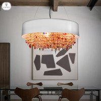 Caren European style vintage colorful crystal dining room living room pendant lamp