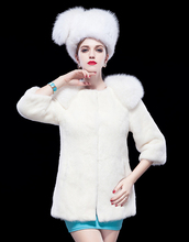Lady's Fashion White Mink Fur Coat With Fox Fur Collar/Wholesale And Retail