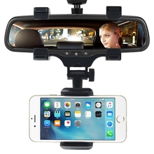 Universal Rearview Mirror Car Mount 360 Swivel Clamp Mobile Phone Holder for iPhone X 8 7 7 Plus 6 6 Plus