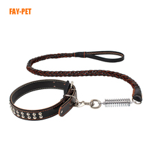 Wholesale premium luxury dog leash genuine leather knit large pet dog leash collar