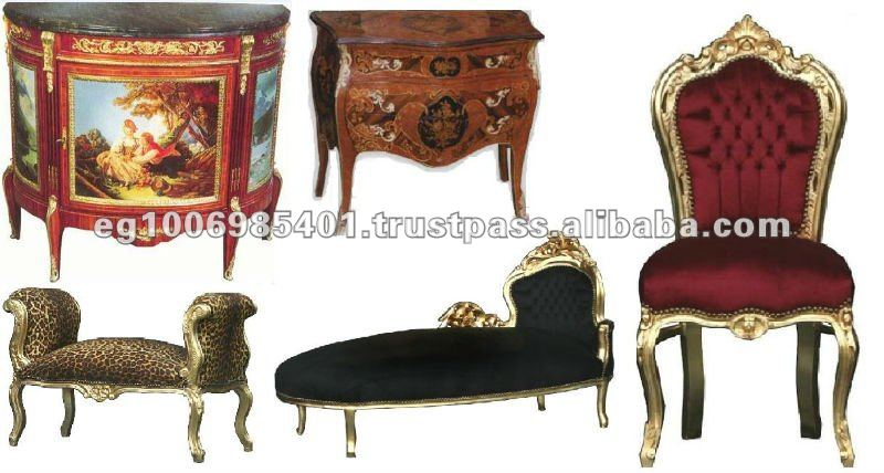 Chairs, sofa, table, commode, chaise lounges stools and armchairs Antique furniture reproductions from Egypt Elhedaya export Co.