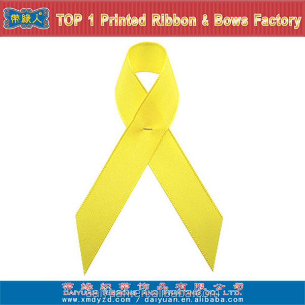 Yellow awareness ribbon bow
