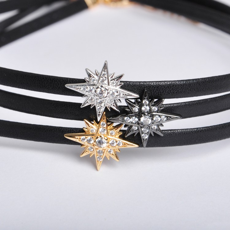OB Jewelry-Modern Choker Necklace Jewelry 925 Sterling Silver Leather Necklace For Women