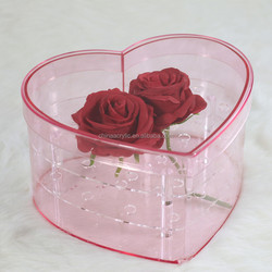 Pink Color Heart Shaped Rose Box Flower Acrylic Gift Box For Valentine Day