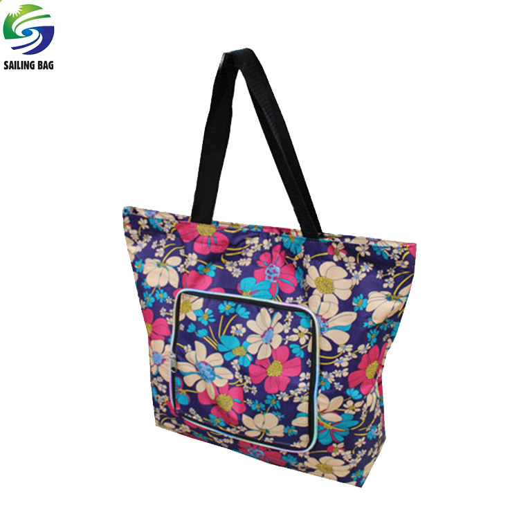 China wholesale full color printing waterproof polyester recycle folding tote bag