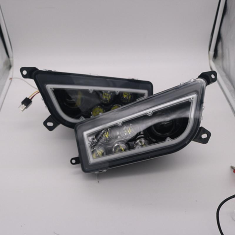 2PCS LED Headlight w// Halo Angel Eye For Polaris RZR XP 1000 4 RZR 900 S 14-17